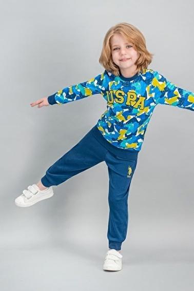 U.S. Polo Assn. U.S. Polo Assn Lisanslı Grimelanj Erkek Çocuk Pijama Takımı Krem